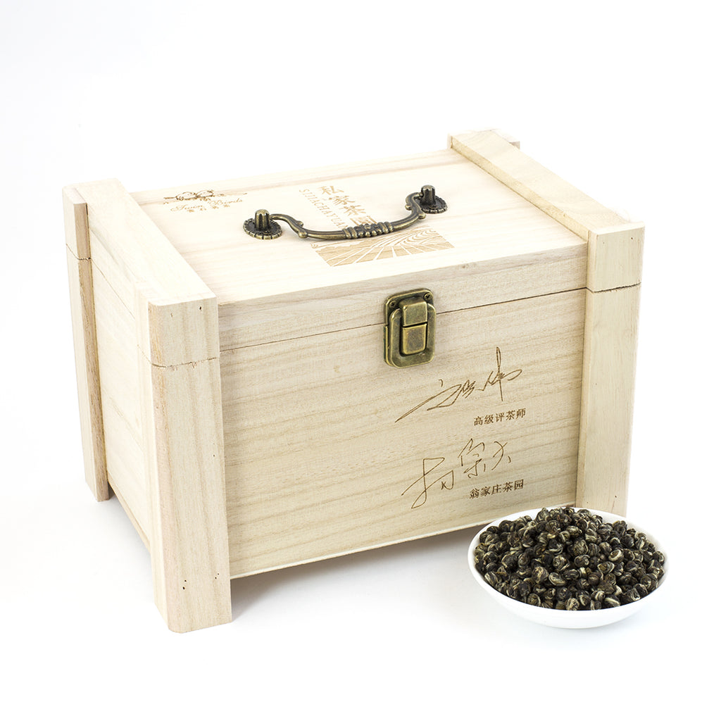 WHF Pearl Queen of Jasmine Green Tea Wooden Caddy (2lbs)