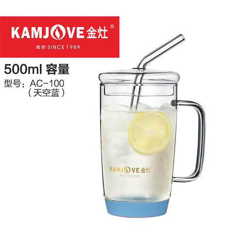 Kamjove AC-100 Glass Straw Cup 500ML(Green/Pink/Blue)