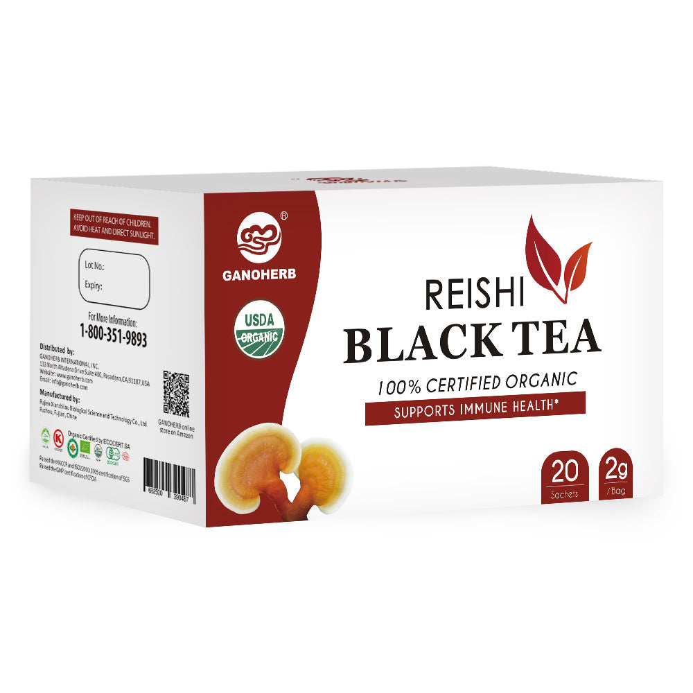 GANOHERB USDA Organic Reishi Mushroom Black Tea Bags,0.07 Ounce (20 count)