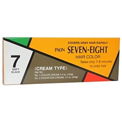 PAON SEVEN-EIGHT CREAM TYPE HAIR COLOR SOFT BLACK #7(1.4 oz)