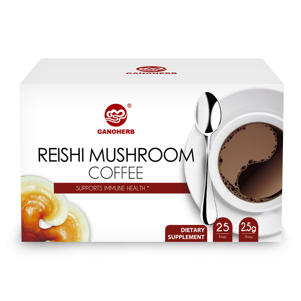 GANOHERB 2 In 1 Reishi Mushroom Instant Black Coffee, 0.09 Ounce(25 Count)