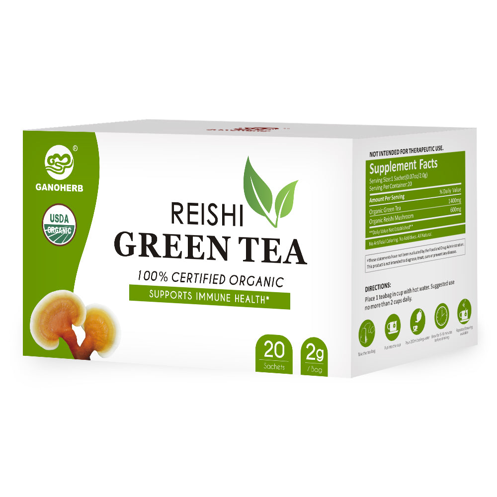 GANOHERB USDA Organic Reishi Mushroom Green Tea Bags,0.07 Ounce (20 count)