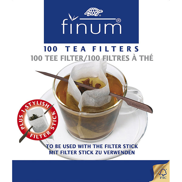 Finum 100-Cup Size Filters and Stick, White