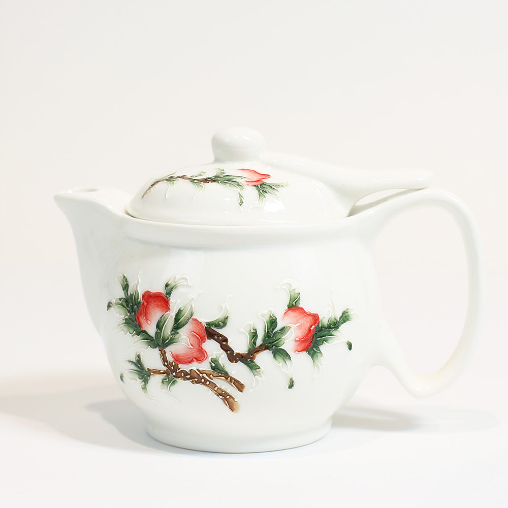 Peach Porcelainware Tea Pot with Filter