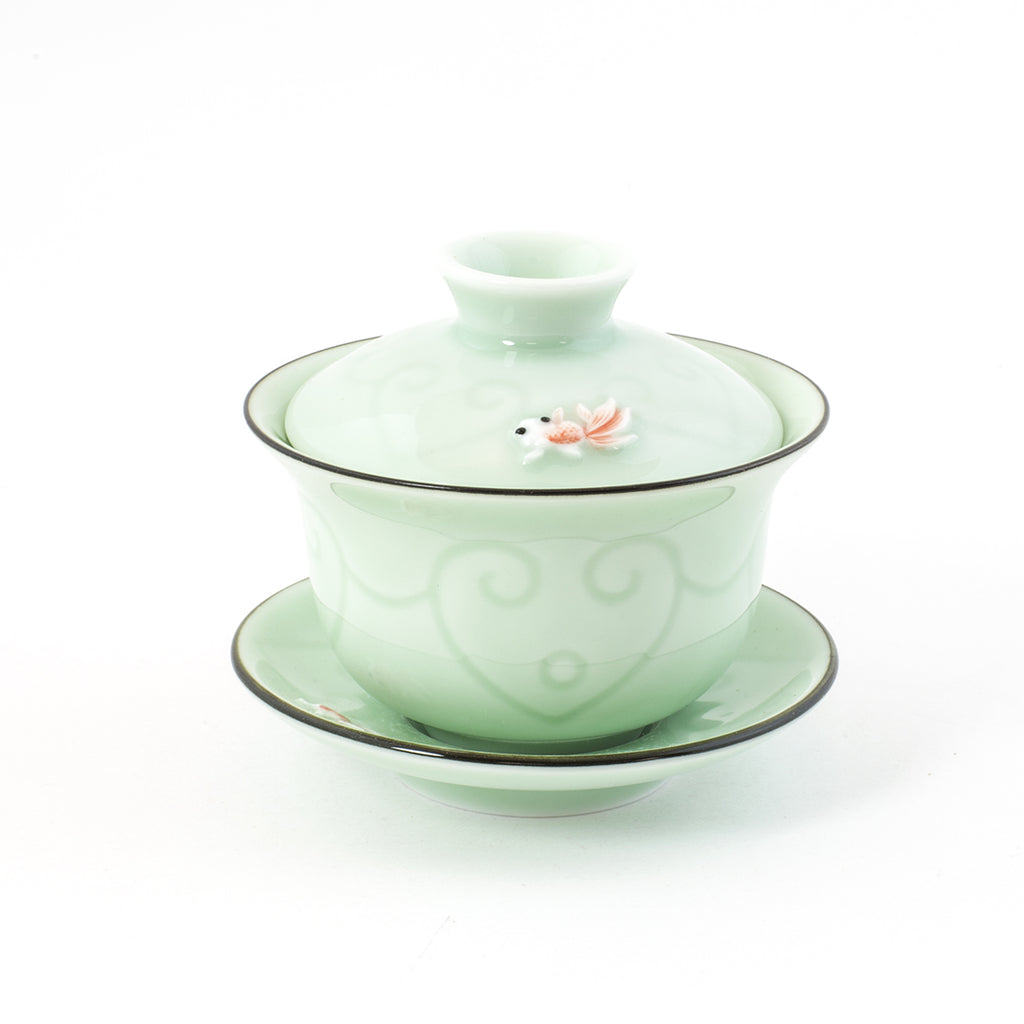 Gold Fish Porcelain Cover Bowl/ Gai Wan