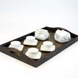 Square Ceramic whiteware Porcelain Tea sets (10 pcs)