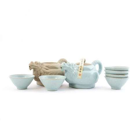 Green Porcelain Hand Made Gong Fu Tea Sets- Dragon (8pcs)