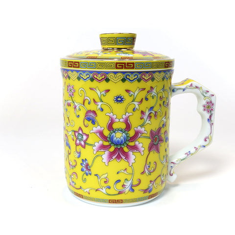 Yuci Colorful Enamel Porcelain Tea Cup (Yellow)