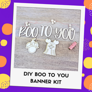 Boo To You DIY Banner Kit - You choose 2 character cutouts!