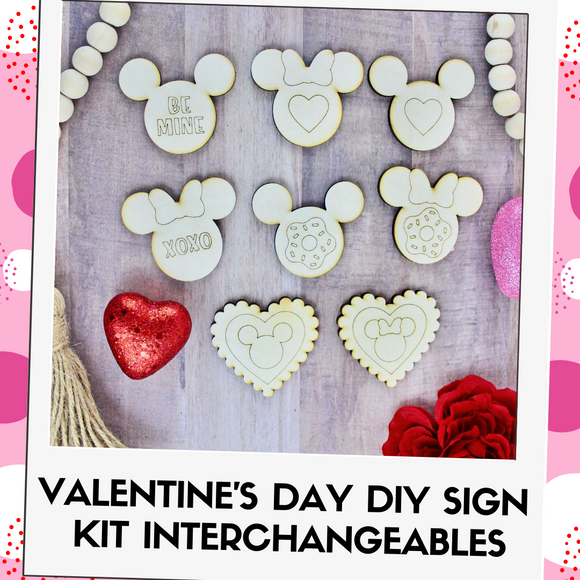DIY Kit Interchangeable Wood Pieces - Valentine's Day