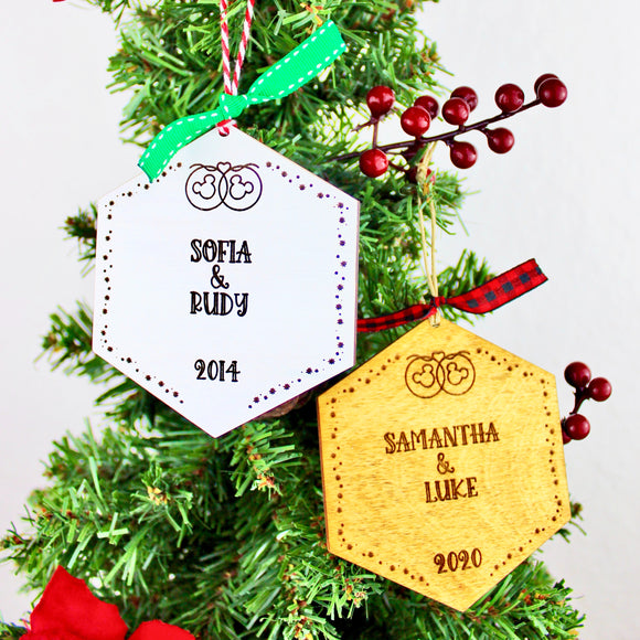 Personalized Park Paver Inspired Ornaments - Wedding Anniversary