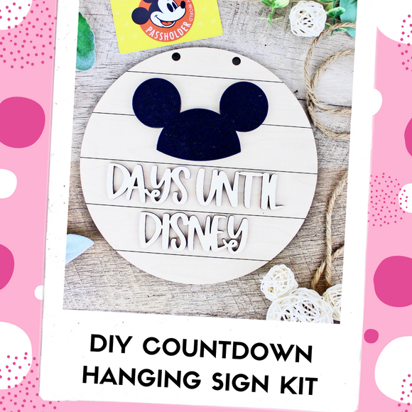 Park Trip Countdown DIY Kit - Hanging Sign with Twine