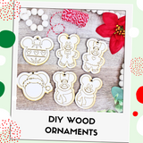 DIY Wood Ornaments - Includes red/white twine!