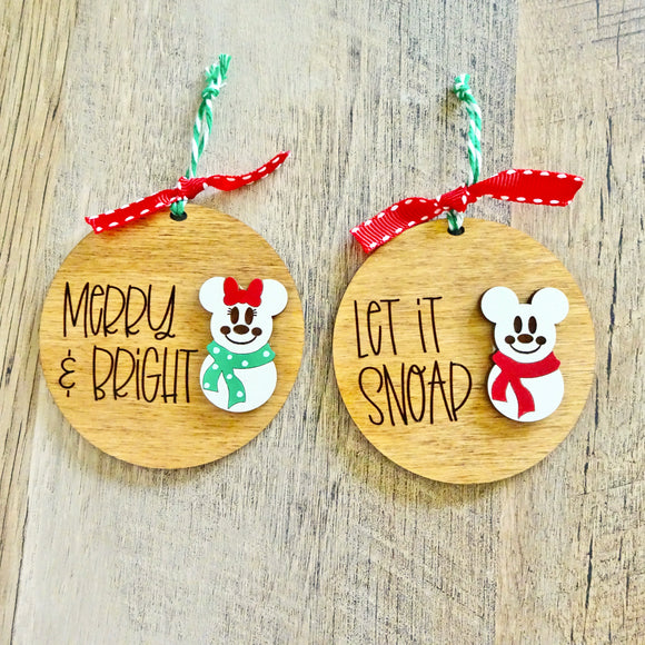 Snowman Mouse Distressed Wood Ornaments