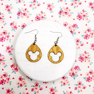 Stained Wood Mouse Earrings