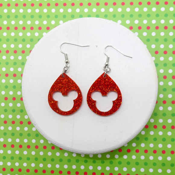 Red Glitter Acrylic Mouse Earrings