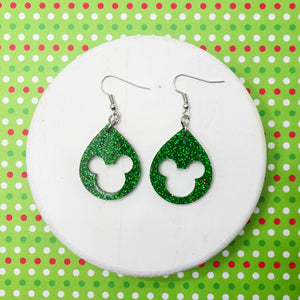 Green Glitter Acrylic Mouse Earrings