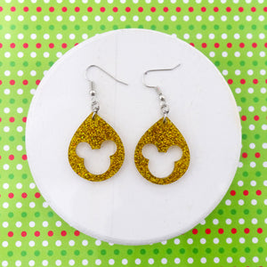 Yellow Gold Glitter Acrylic Mouse Earrings