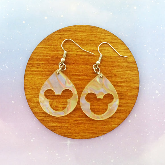 Pearlized Acrylic Mouse Earrings