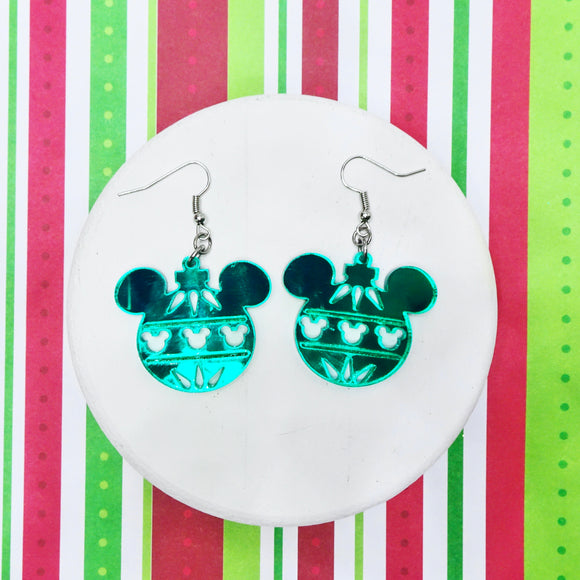 Mouse Ornament Mirror Acrylic Earrings