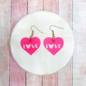 Love Heart Pink Frosted Acrylic Earrings