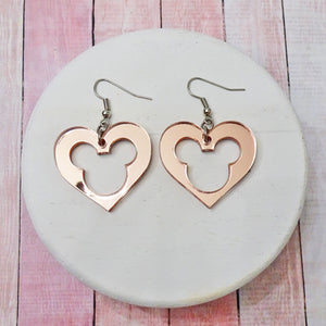 Mouse Heart Rose Gold Mirror Acrylic Earrings