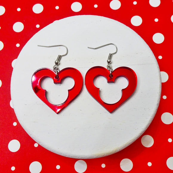 Mouse Heart Red Mirror Acrylic Earrings