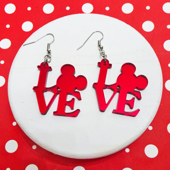 Mouse Love Mirror Acrylic Earrings