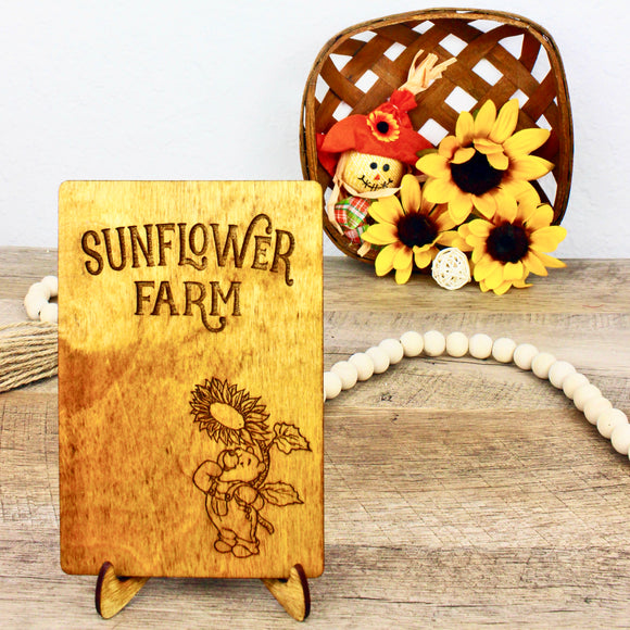 Sunflower Farm - Engraved Wood Home Decor