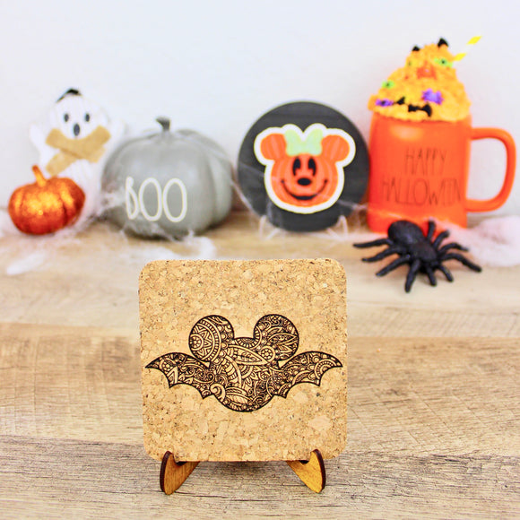 Mouse Bat Mandala Mouse Cork Trivets