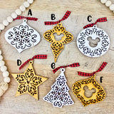 Holiday Magic Ornaments - Distressed White Wood/Golden Oak Stain