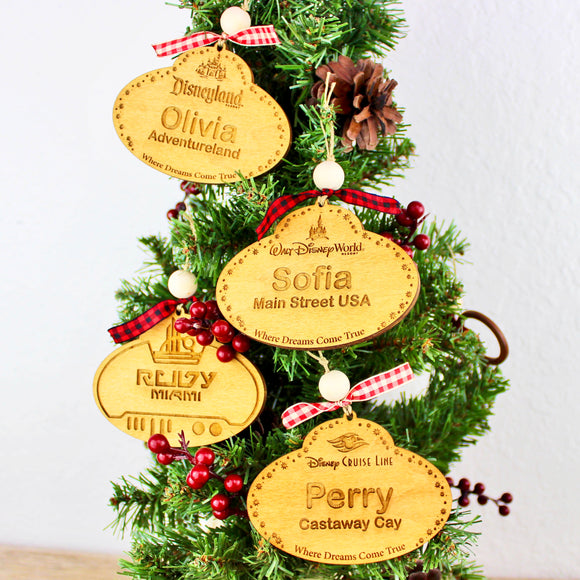 Personalized Name Tag Ornaments - Golden Oak Stained Wood