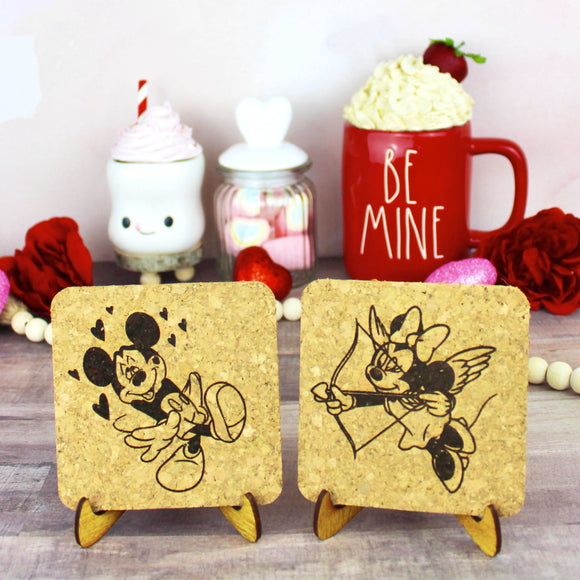Love Struck Mouse Cork Mini Trivets