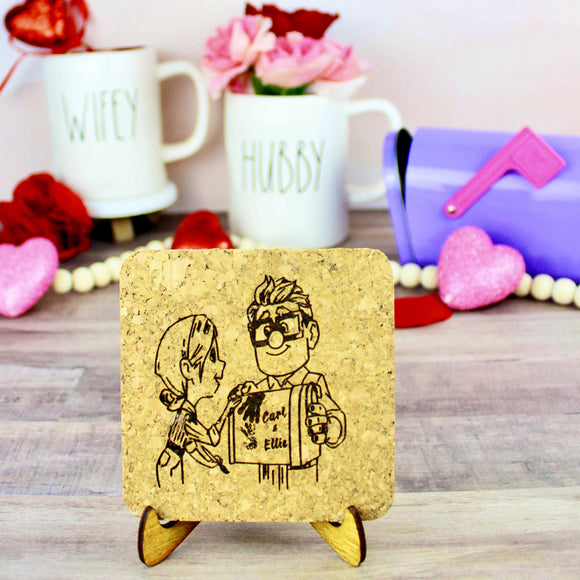 Carl & Ellie Mini Cork Trivet