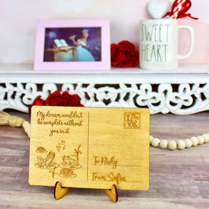 Dreamer Valentine's Day Postcard - Personalized Engraved Wood Home Decor