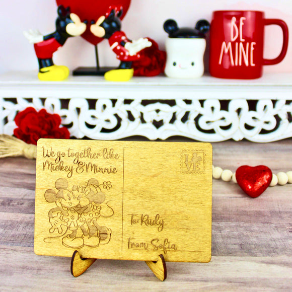 Mouse Love Valentine's Day Postcard - Personalized Engraved Wood Home Decor