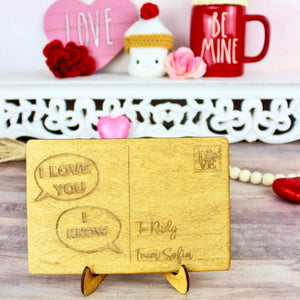 I Love You/I Know Postcard - Personalized Engraved Wood Home Decor