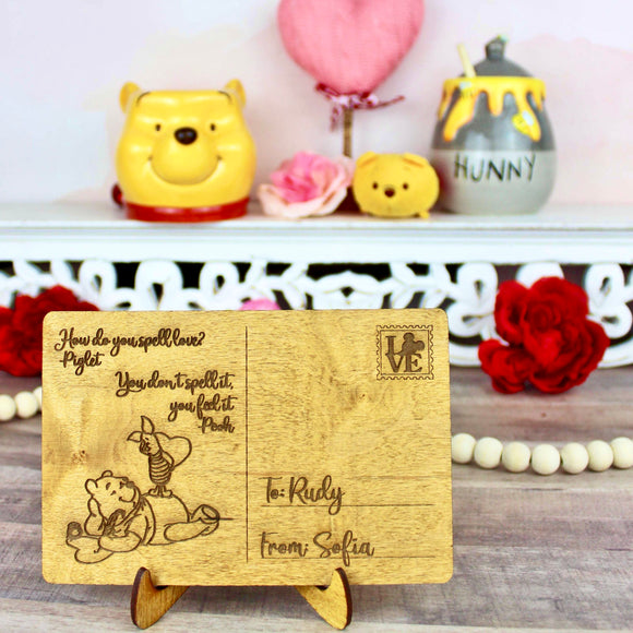 Hundred Acre Wood Friends Postcard - Personalized Engraved Wood Home Decor
