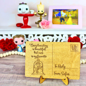 Love Story Valentine's Day Postcard - Personalized Engraved Wood Home Decor