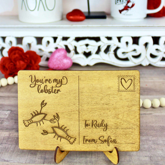 You're My Lobster Postcard - Personalized Engraved Wood Home Decor