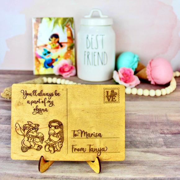Ohana Postcard - Personalized Engraved Wood Home Decor