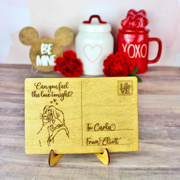 Can You Feel the Love Tonight Postcard - Personalized Engraved Wood Home Decor