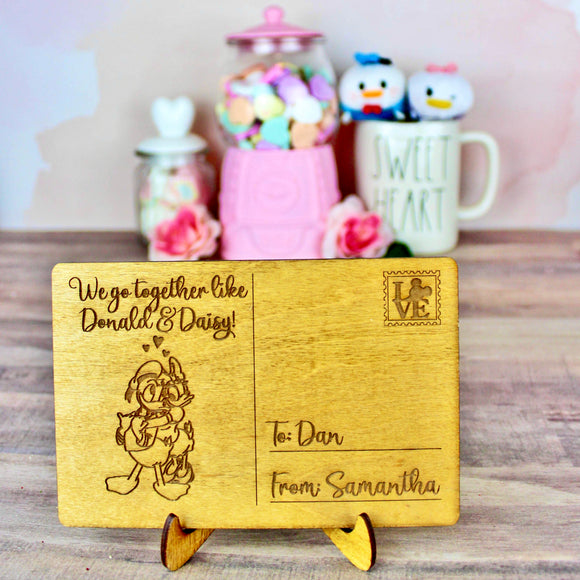 Ducks in Love Postcard - Personalized Engraved Wood Home Decor