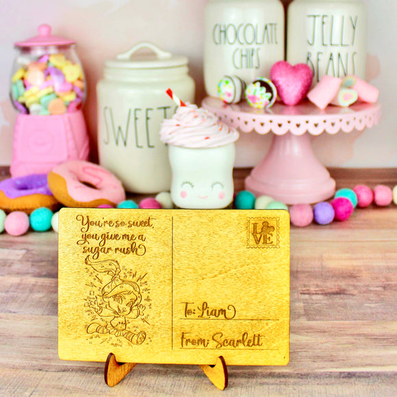 Sugar Rush Postcard - Personalized Engraved Wood Home Decor