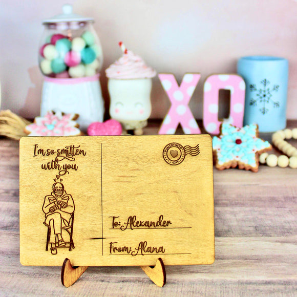 Smitten with You Postcard - Personalized Engraved Wood Home Decor
