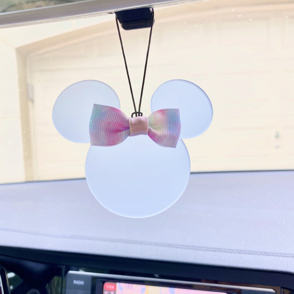 Rearview Mirror Charm - Translucent Light Blue Mouse - You choose the ribbon print!