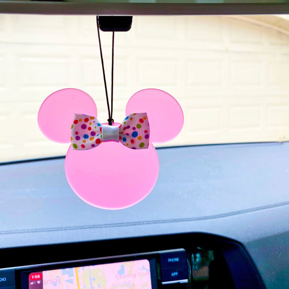 Rearview Mirror Charm - Translucent Pink Mouse - You choose the ribbon print!
