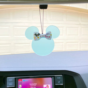 Rearview Mirror Charm - Translucent Sea Foam Green Mouse - You choose the ribbon print!