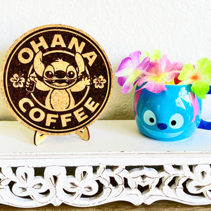 Ohana Cofee Cork Trivet or Mini Trivet