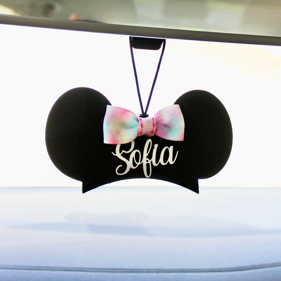 Custom Rearview Mirror Charm - Mouseketeer Hat with Bow - You choose the ribbon print!
